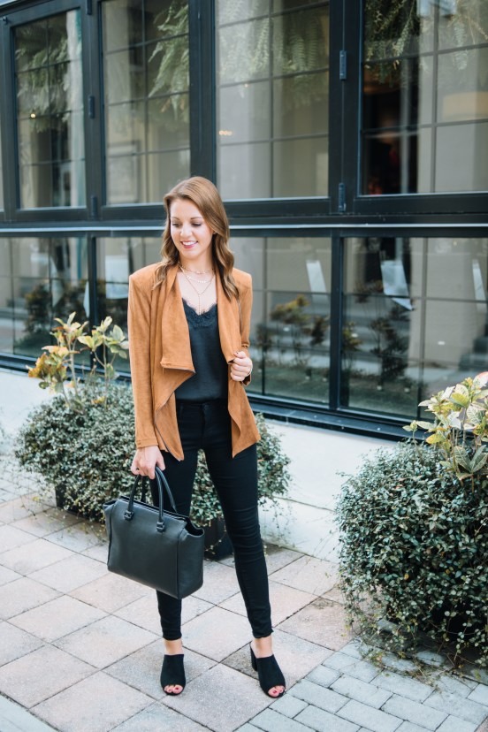 Draped Suede Jacket for Fall by Florida fashion blogger Absolutely Annie