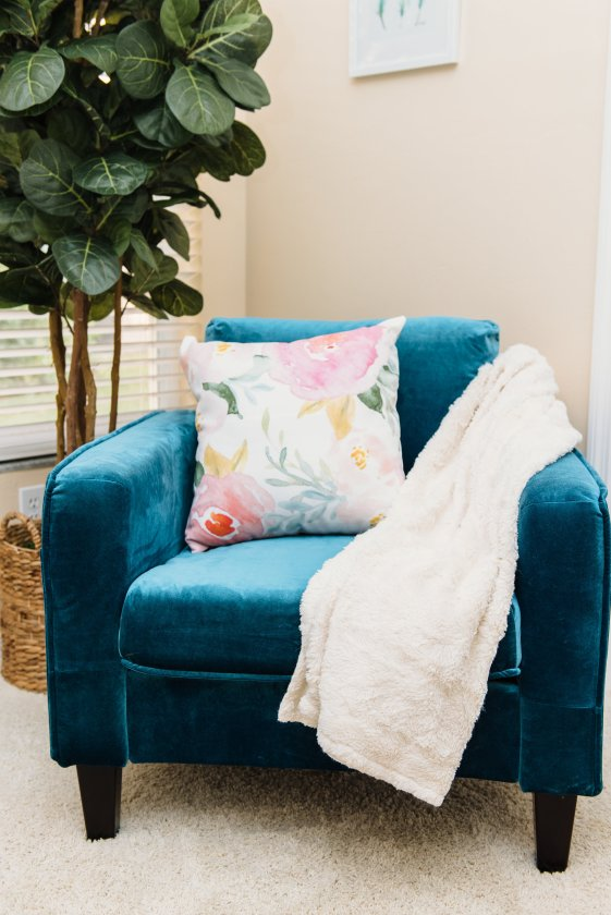 How to Style a Velvet Chair by popular Florida style blogger Absolutely Annie