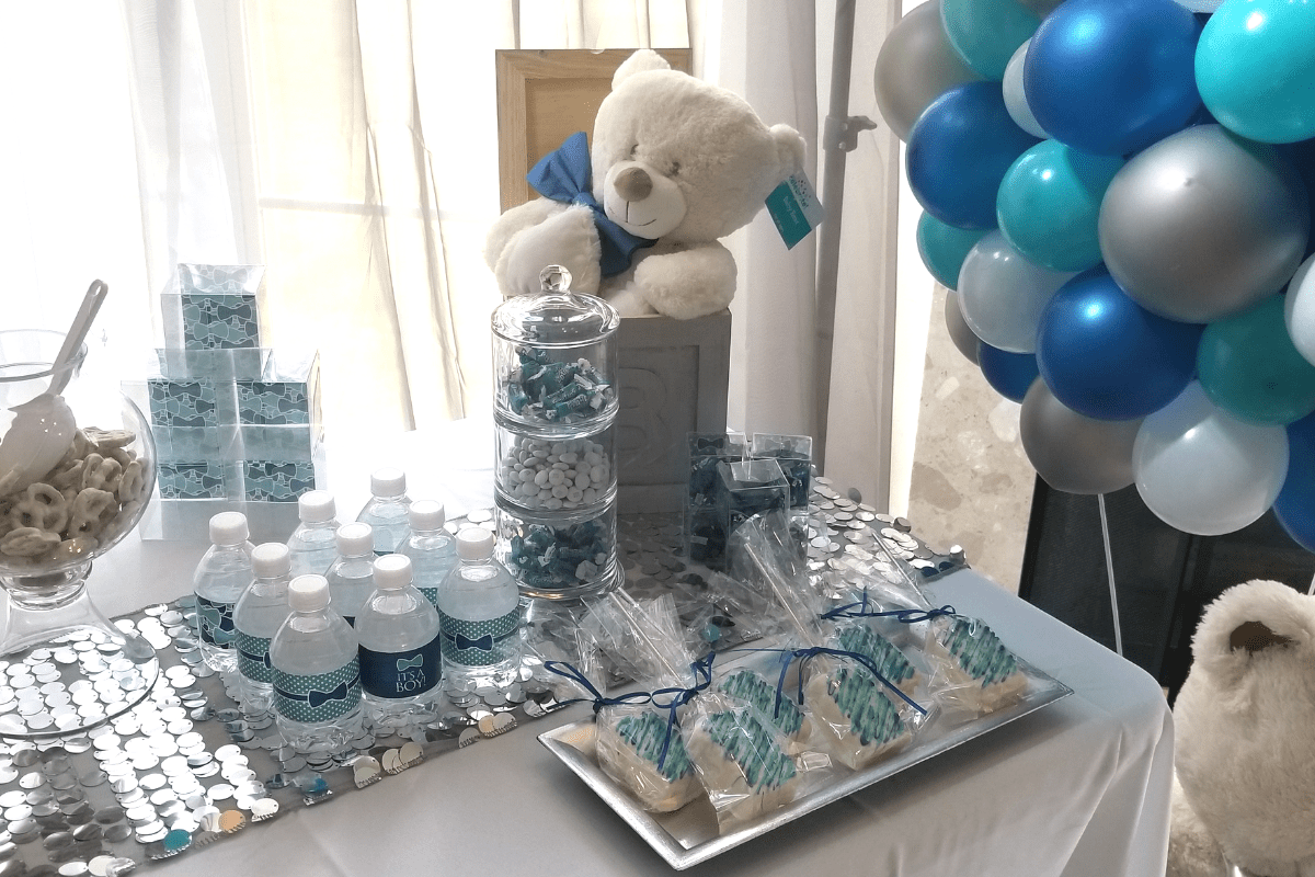Baby Blue Baby Shower Table Set Up