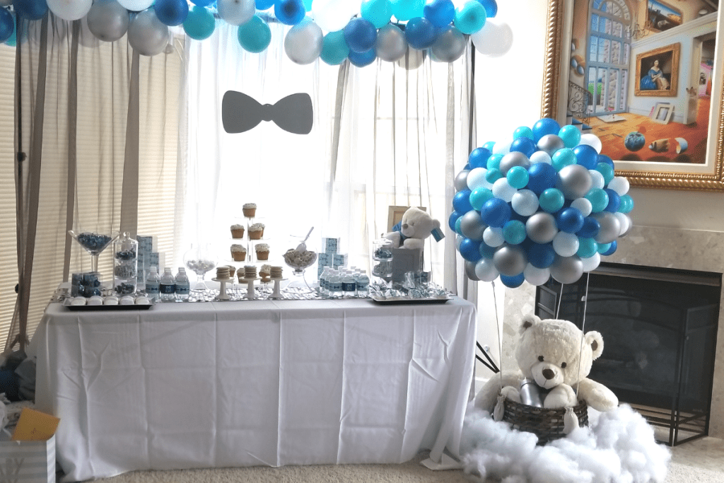 Baby Boy Baby Blue Shower Decor and Table Set Up