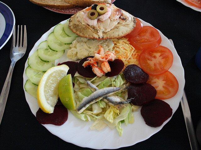Crab salad plate at Cookies Crab Shop