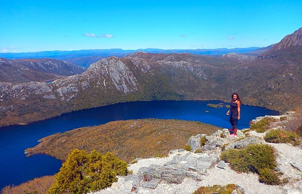 Absolutely Lucy, top of mountain, Tasmania, Australia, afford travel