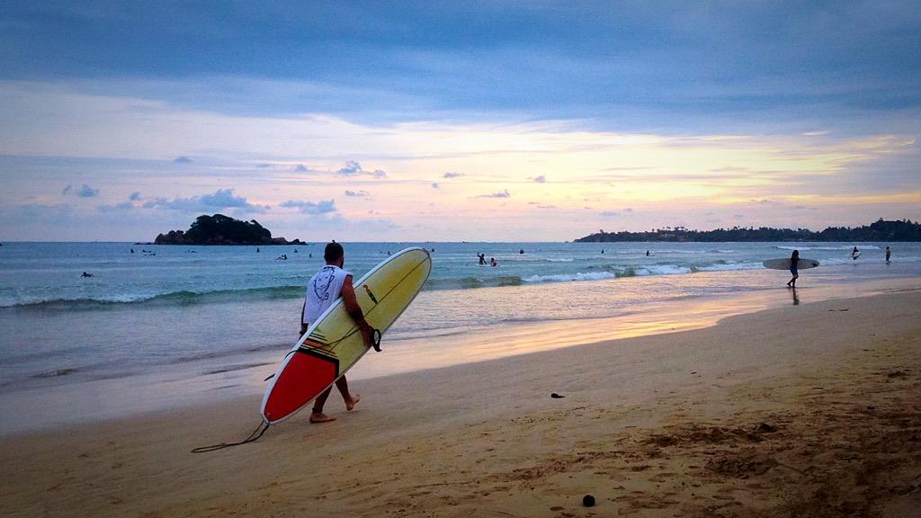 surfing, weligama beach, mirissa, sri lanka, sunset