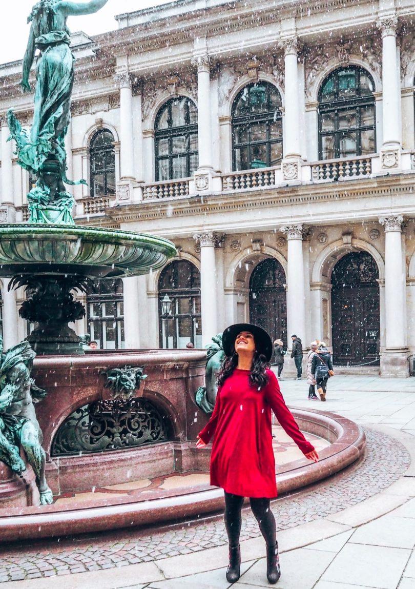 Sustainable fashion, picture at Hamburg Rathaus