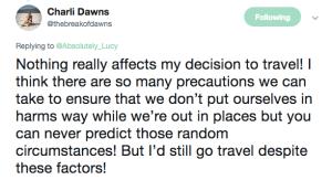 Travel risks comments Charlie