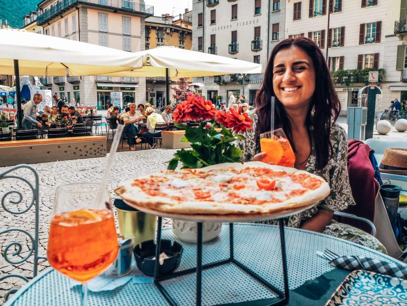 Absolutely Lucy, pizza and aperol spritzes for lunch in Italy