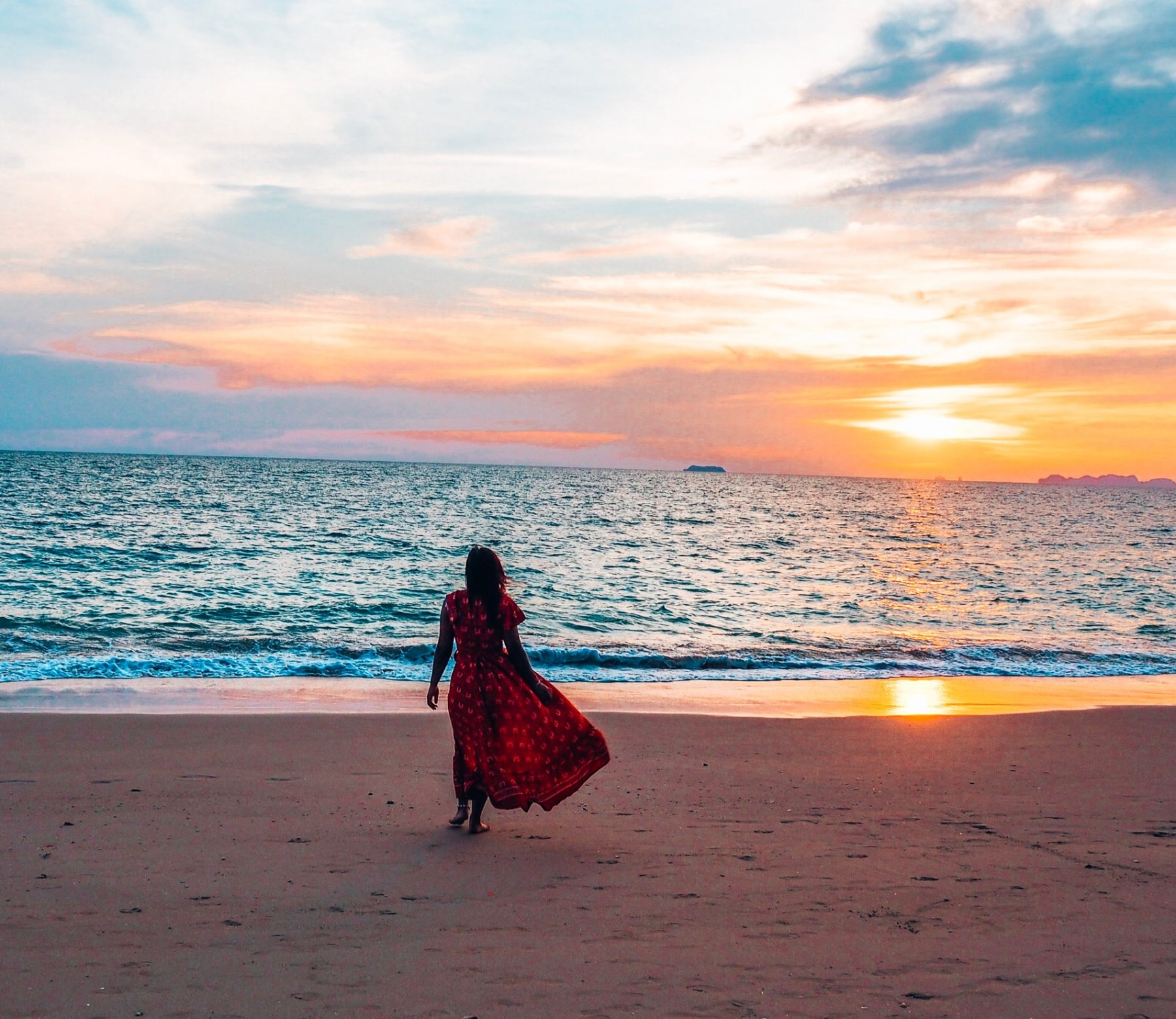 Koh Lanta beach view, sunset, Thailand 2019