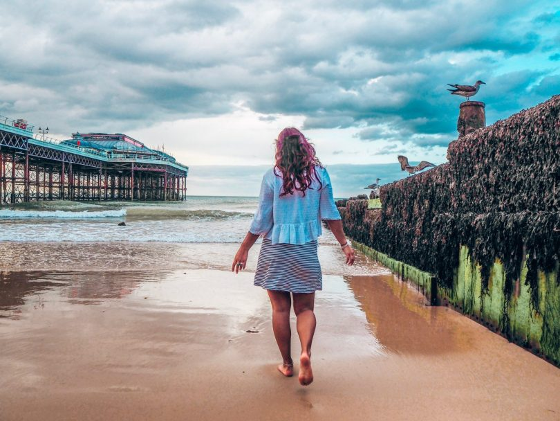 Norfolk coast at Cromer, Absolutely Lucy on beach at pier, Norfolk holidays