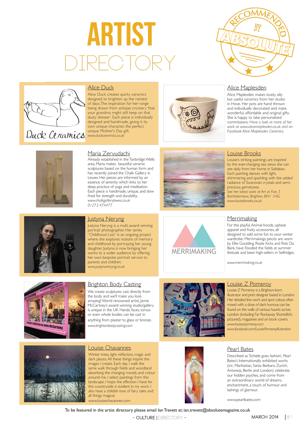 Art Directory March Absolute Magazine Fashion