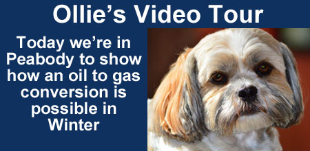 Ollie video tour. How an oil to gas conversion is possible in winter.