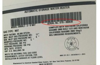 water heater label serial number