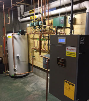 oil to gas conversion heating system installation with Burnham Alpine gas boiler and 60 gallon Superstor