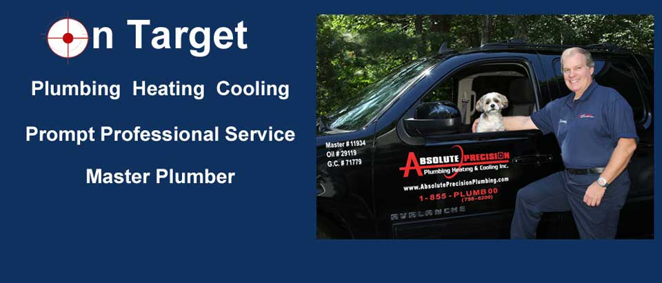 On target- plumbing, heating, cooling. Prompt professional service. Master plumber