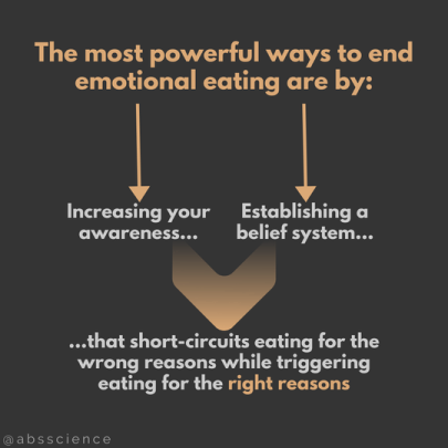 this picture sums up the two most powerful ways to stop emotional eating - increasing awareness and establishing a new belief system