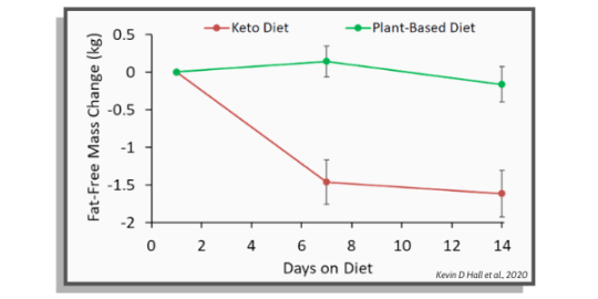 fat free mass between keto diet and plant based diet