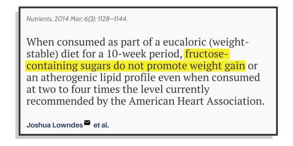 The conclusion of the study on sugar and weight gain