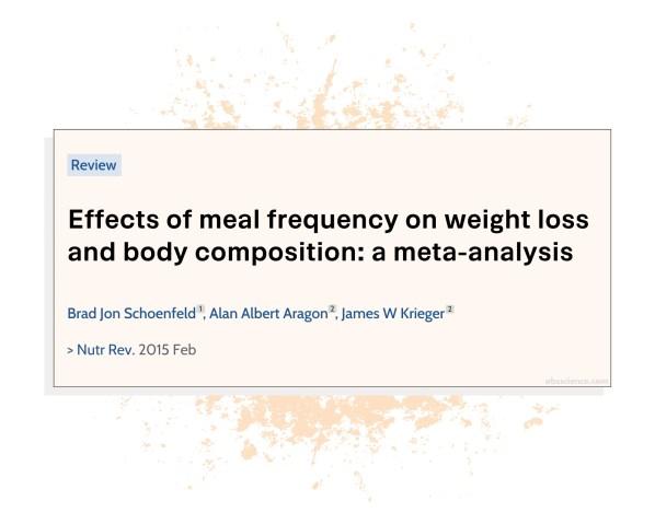 Brad Jon Schoenfeld, Alan Albert Aragon, James W. Krieger study on meal frequency and weight loss