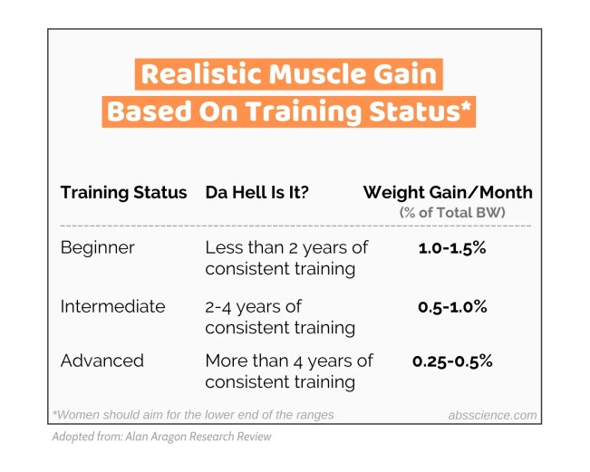 realistic rates of muscle gain per month