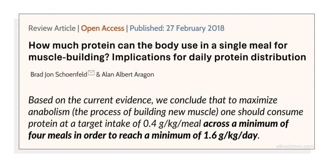 Brad Jon Schoenfeld, Alan Albert Aragon study on protein intake. Study quote.