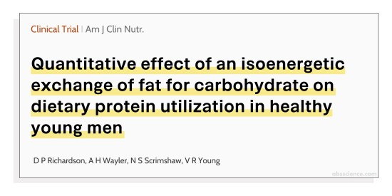 Quantitative effect of an isoenergetic exchange of fat for carbohydrate on dietary protein utilization in healthy young men