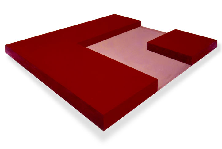 Ronald Davis Six-Ninths Red, 1966 72 x 111 inches Colored polyester resin and fiberglass with wood support.