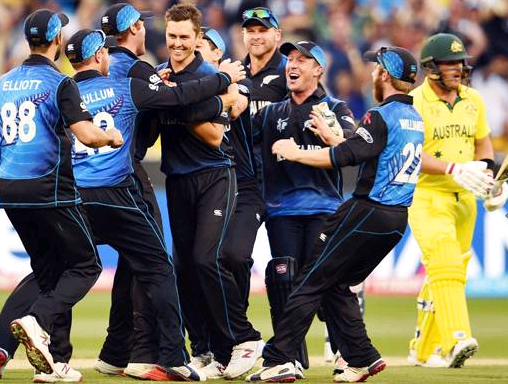 Team New Zealand all smiles as Australia's Aaron Finch is dismissed. Photo - AFP