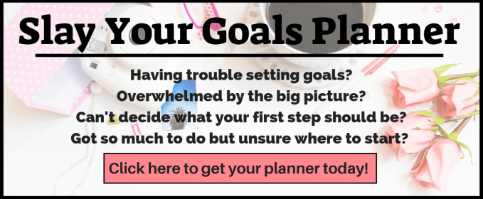 Having trouble setting goals? Overwhelmed by the big picture and unable to break down your big todo list into smaller steps? Can't decide what your first step should be? Not sure where to start? Your goal setting system is affecting your productivity? The Slay Your Goals Planner is just the thing you need. Click here to find out more!