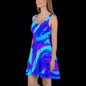 all over print skater dress white 5ff6f32912578