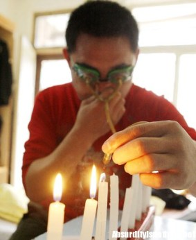 blow candles with eyes