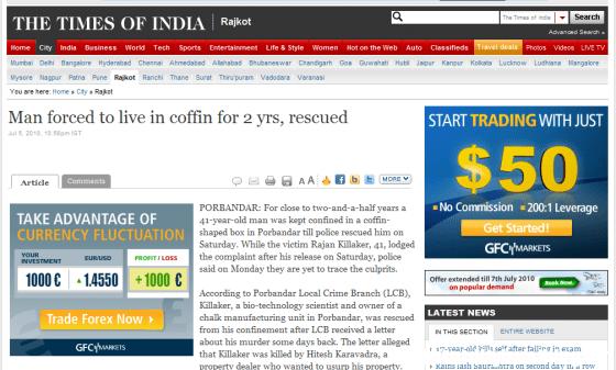 Lo chiudono in una bara per 2 anni e mezzo - Times India
