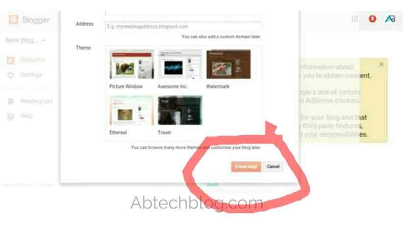 Create a blogger blog