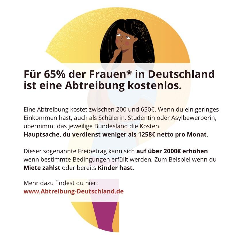 Instagram Infografik zu den Kosten einer Abtreibung in Deutschland