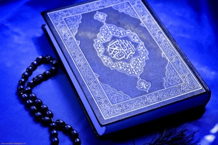 Blue Quran with Beads