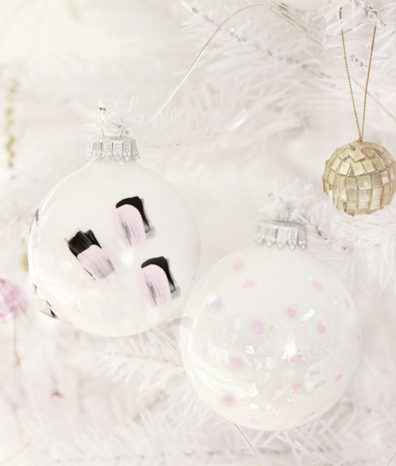 brushstroke and polka dot ornaments