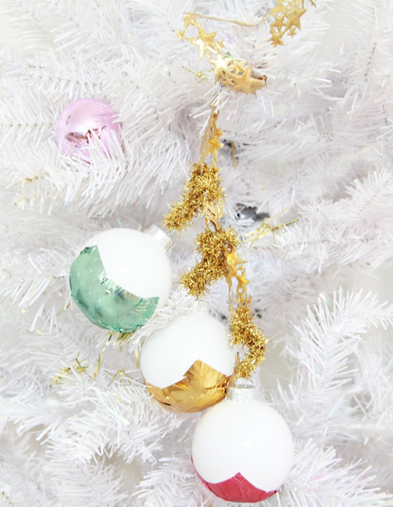 candy wrapped dipped metallic ornaments