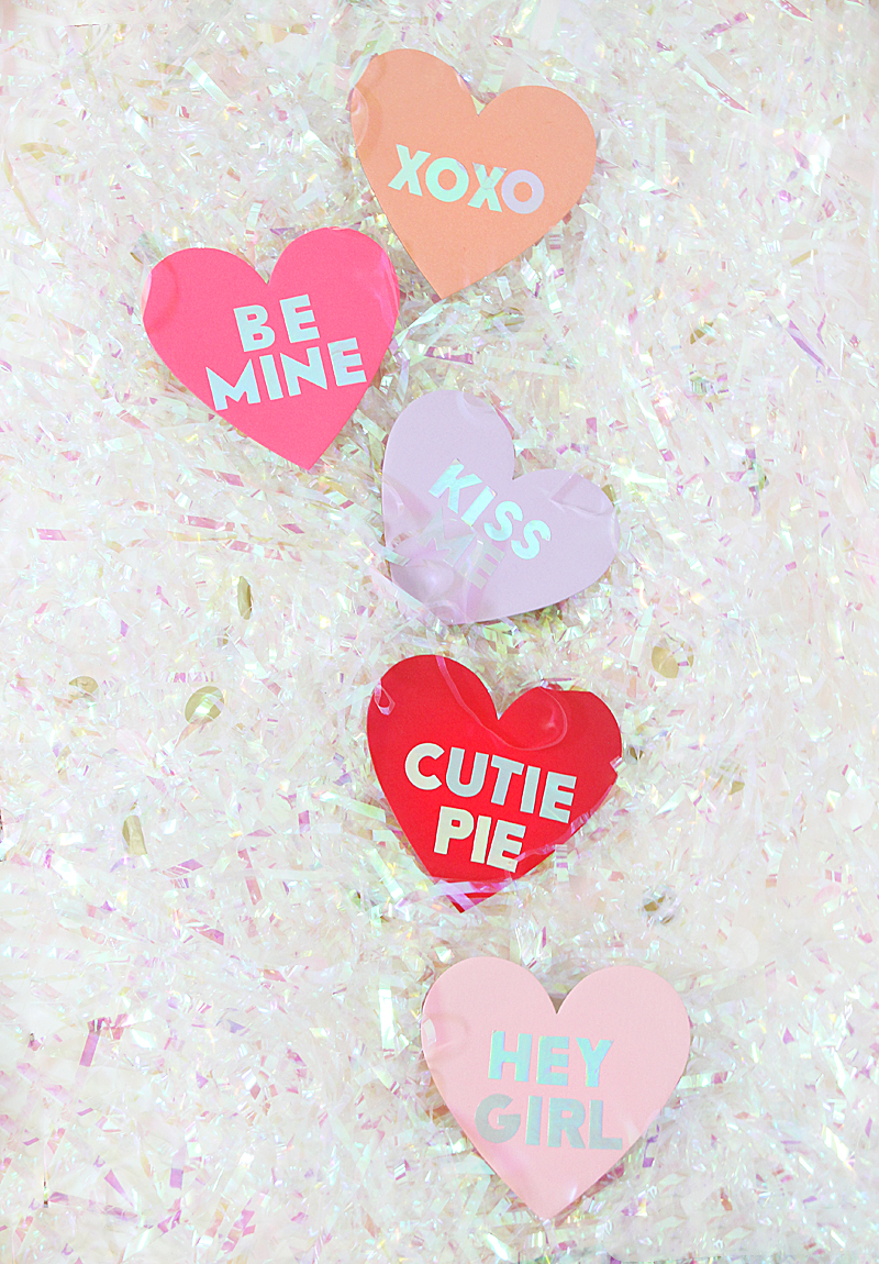 conversation heart holographic banner