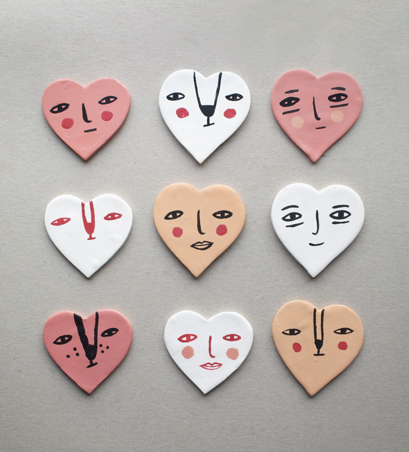Mer Mag Clay Heart Face Magnets
