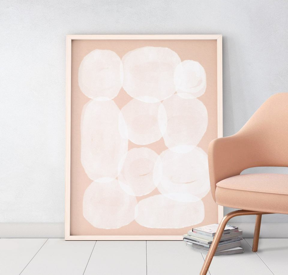 abstract blush pink art