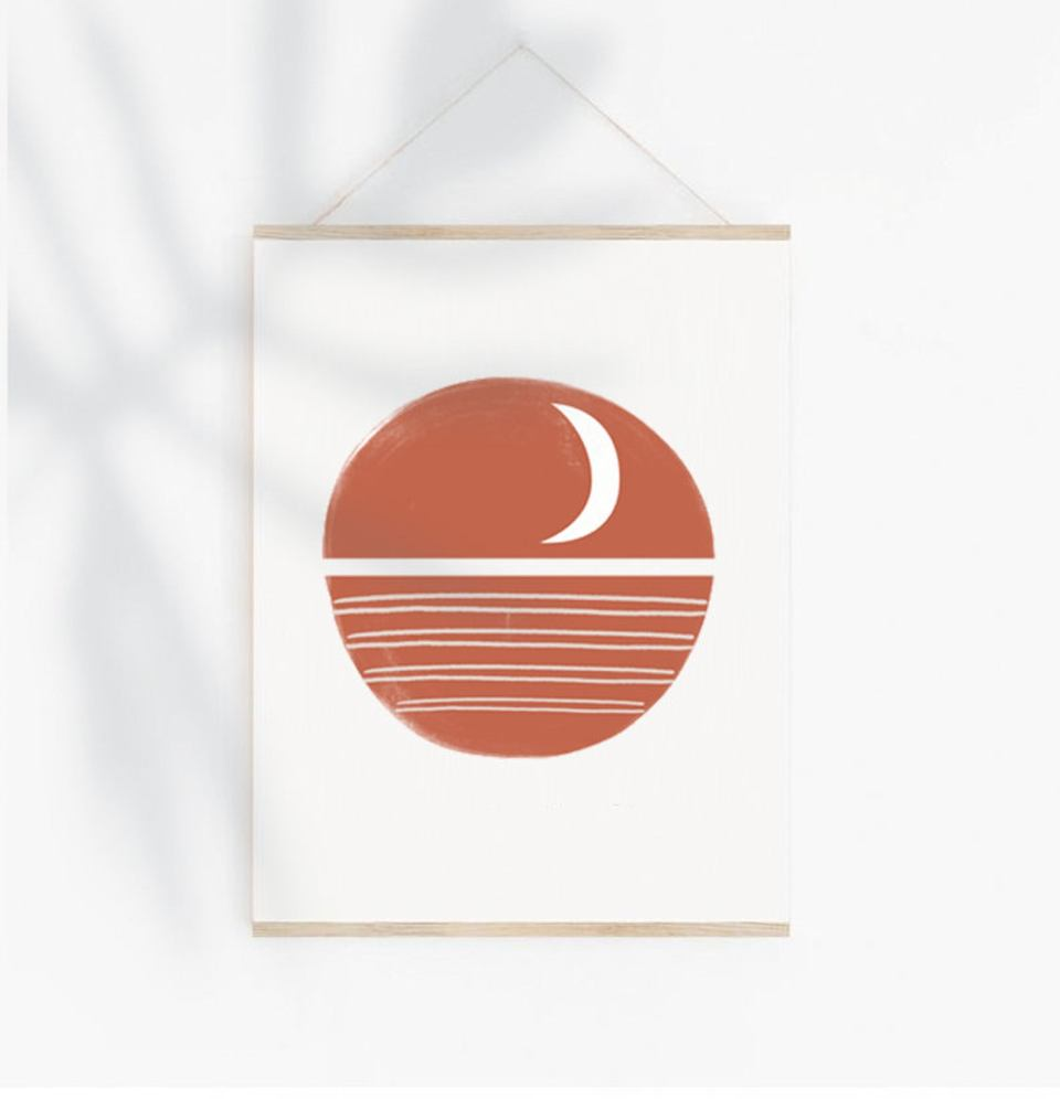 terracotta moon on water printable