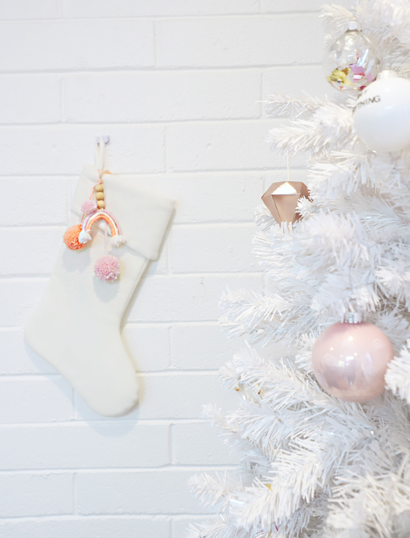 white christmas tree and stocking