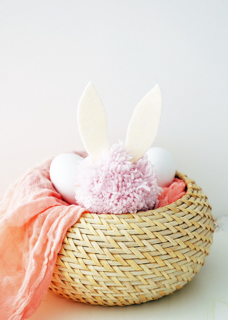 bunny pom poms easter basket
