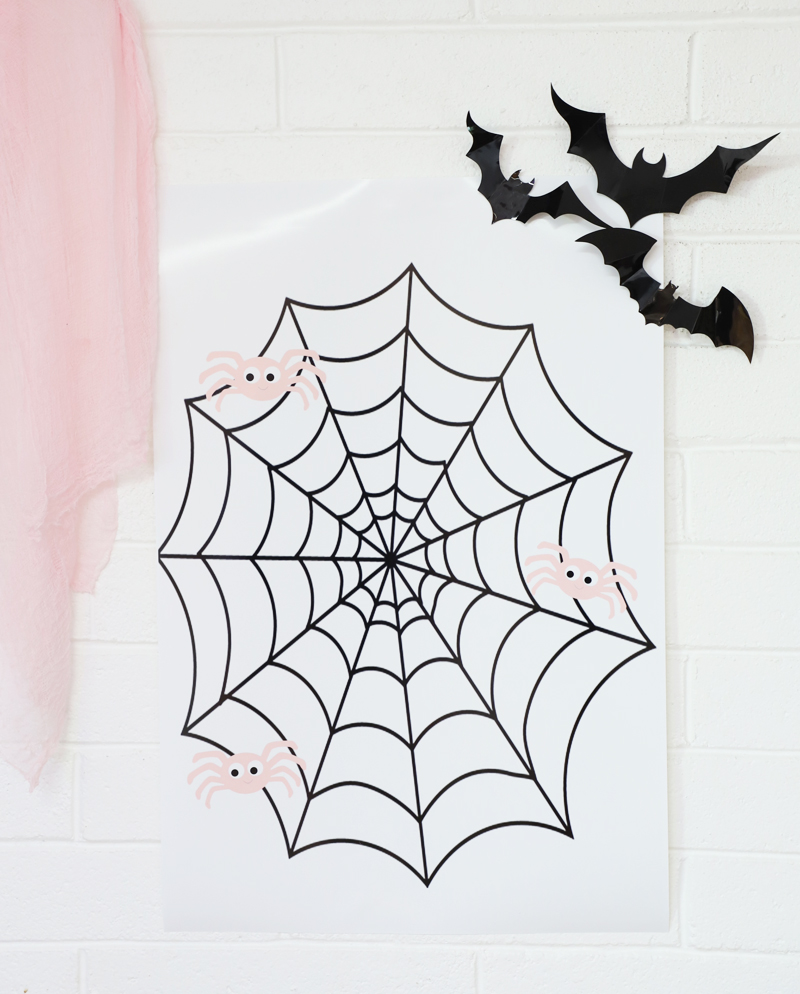 pin the spider on the web halloween game