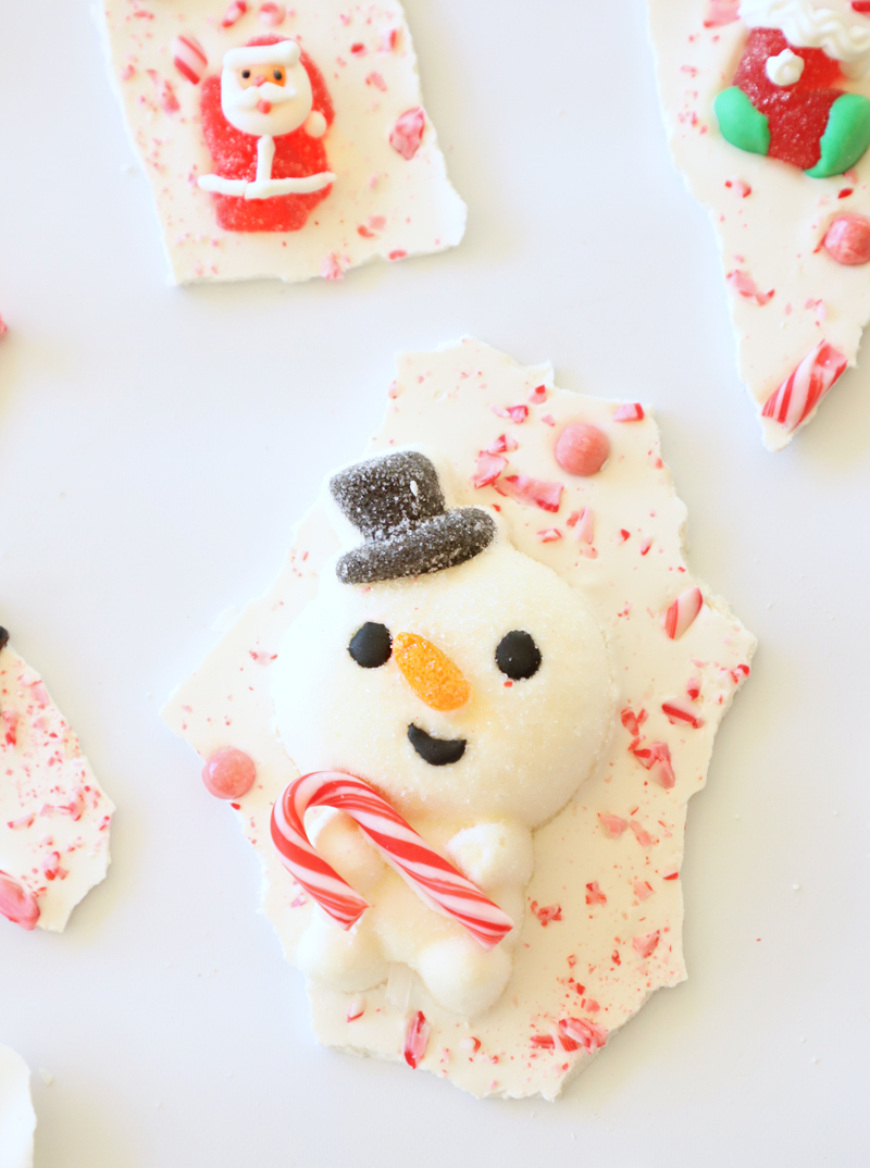 snowman candy bark
