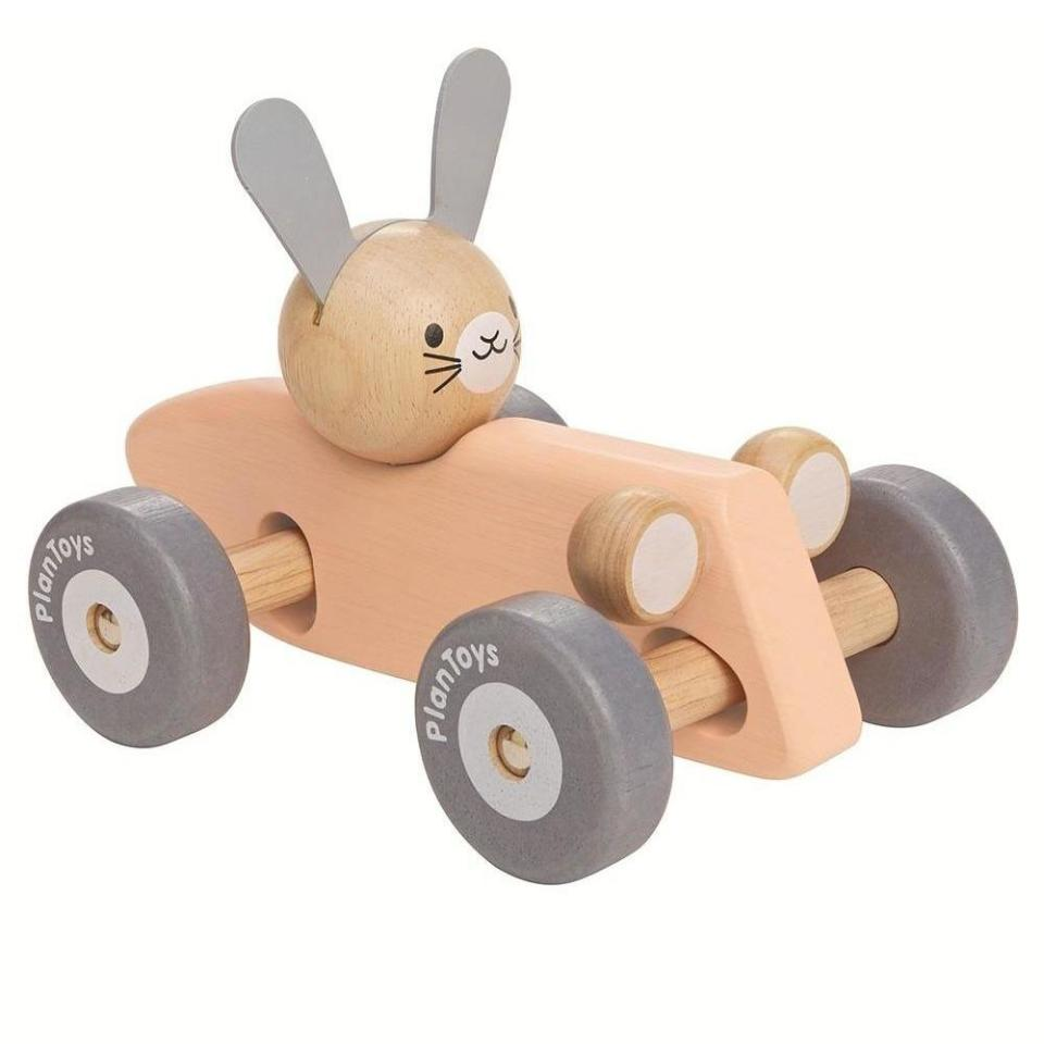 bunny in a pink racing car