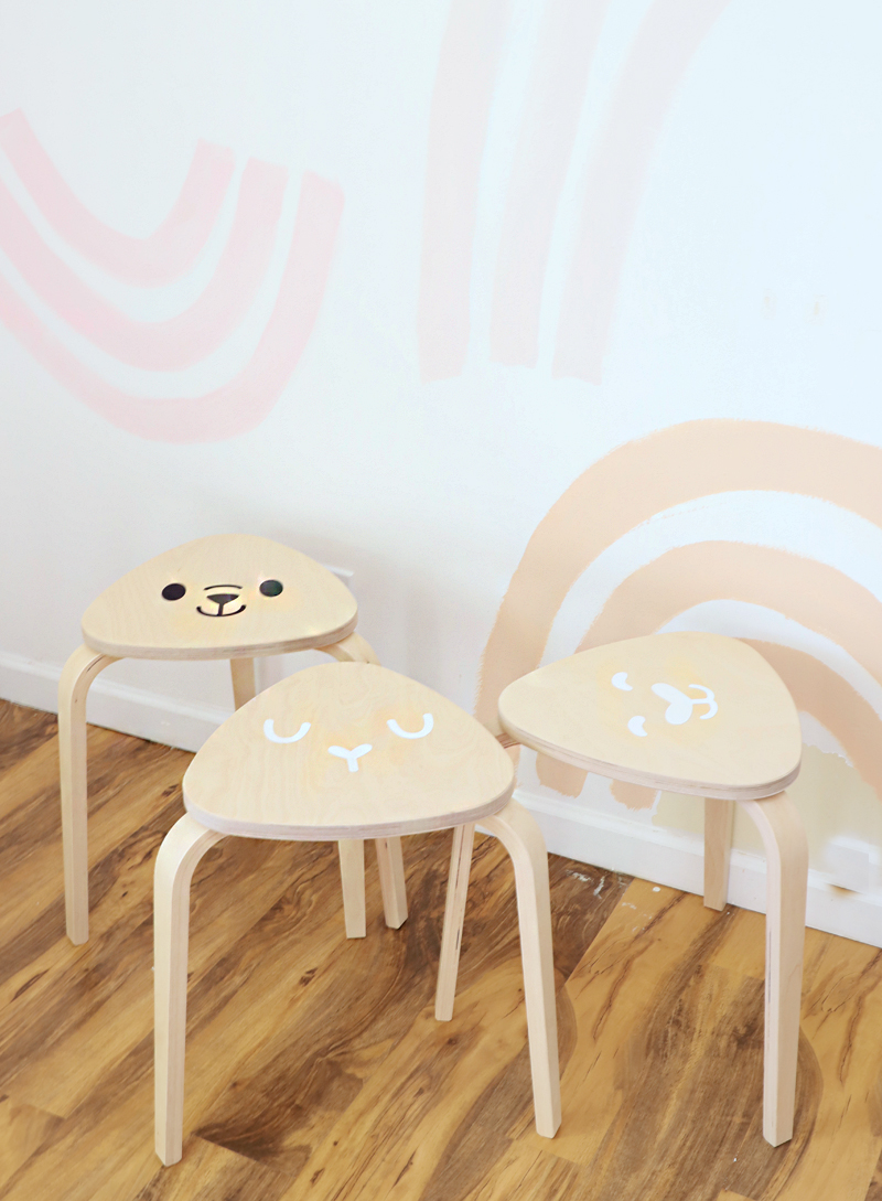 modern kid play stools with animal faces