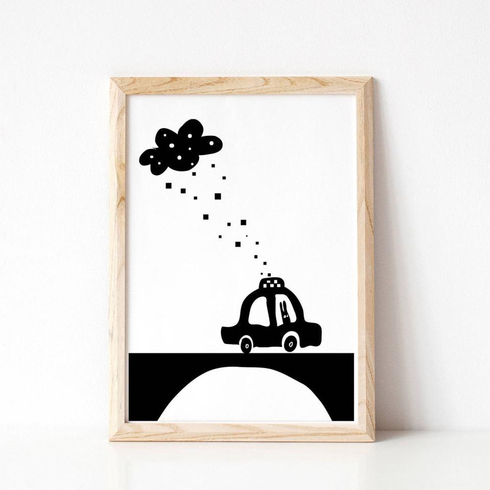 black and white car art printable bunny driving