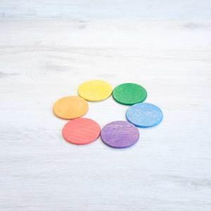 6 Monedas de madera arcoíris
