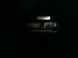 And a front view of the bus at night with the LED bulb lit.