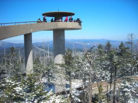 The 360 observation tower atop Clingman's Dome, on a nice, clear day.