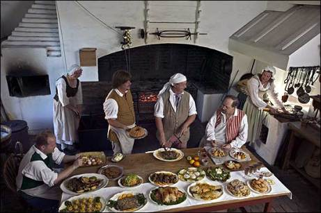 Preparing food in the Governor's Palace.